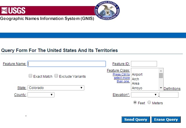US Geographic Names Information Server | Genealogy Search Tip