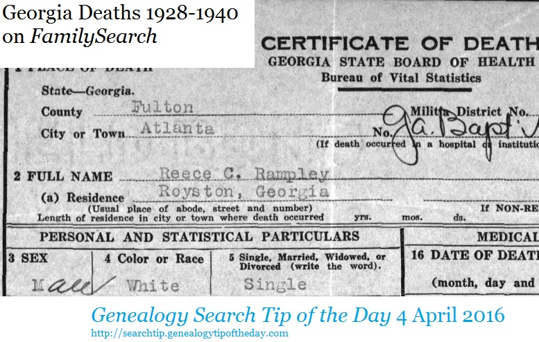 georgia deaths 1928-1940 on familysearch | genealogy search tip